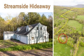 METICULOUS large Cape Cod House - Streamside HIDEAWAY -- Bordering 95 acres of NY CITY LAND