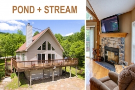 CHARMING CATSKILL CHALET - STREAM -- Hidden POND -- Mountain VIEWS